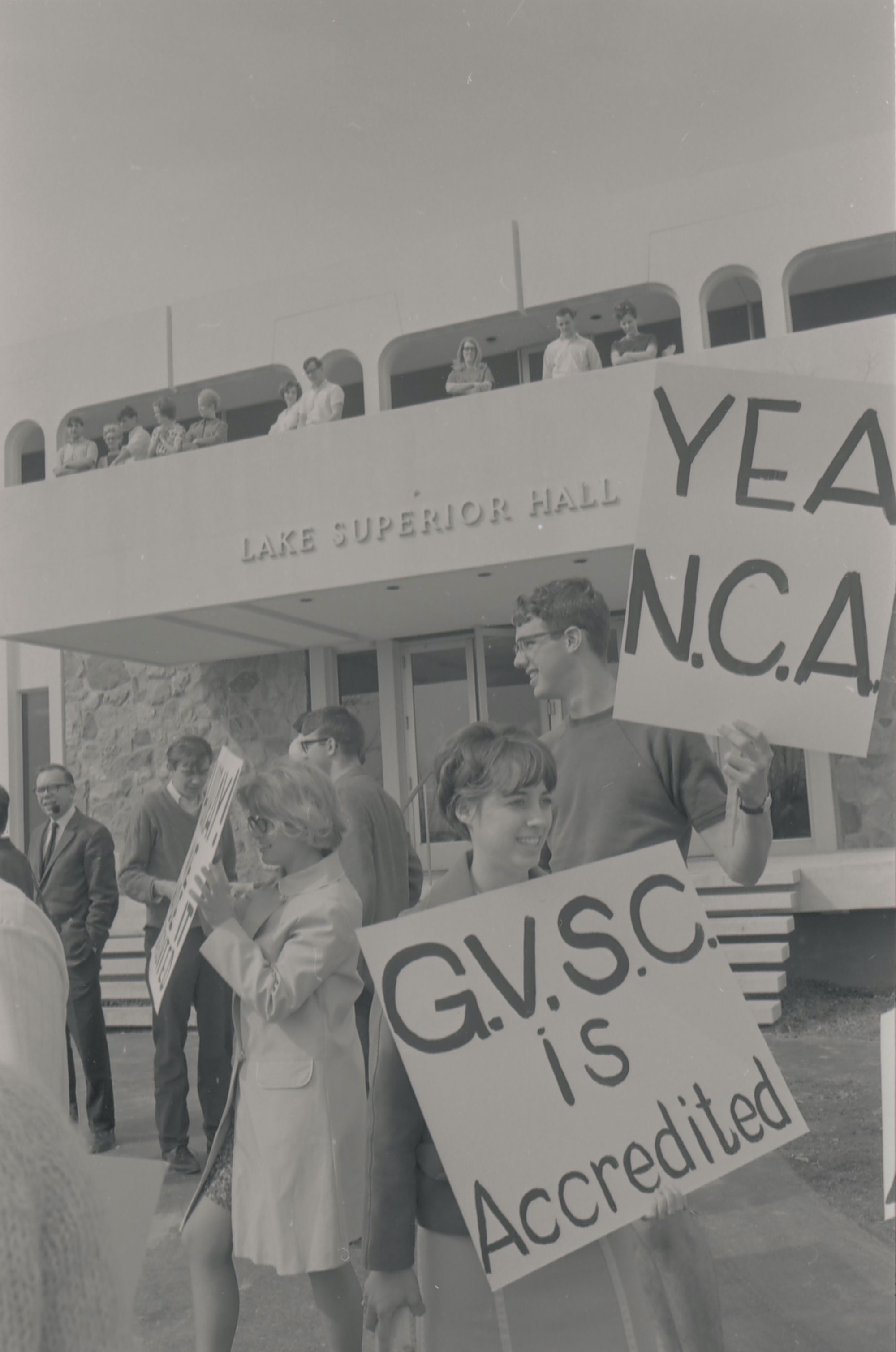 Students celebrate GVSCs accreditation, March 25, 1968.